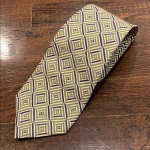 BURBERRY Geometric Blue Green Silk Tie Made in USA